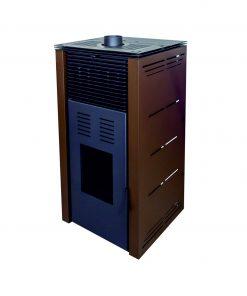 poêle-à-granulés-sans-électricité-chauffage-bois-13-kw-porte -frontale-marron