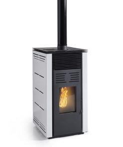 poêle-à-granulés-sans-électricité-chauffage-bois-8-kw-gris-porte -frontale-blanc