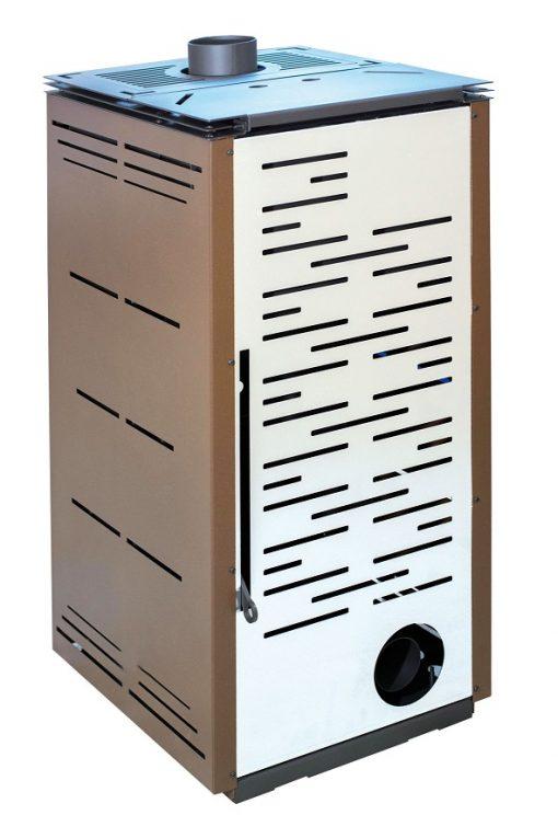 poêle-à-granulés-sans-électricité-chauffage-bois-8-kw-gris-porte -frontale-marron-arrière